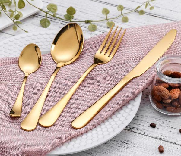 4pcs / set Vaisselle En Or En Acier Inoxydable Ensemble Dîner Couteau Fourchette Cuillère Cuillère À Thé De Luxe Vaisselle Ensemble W7996