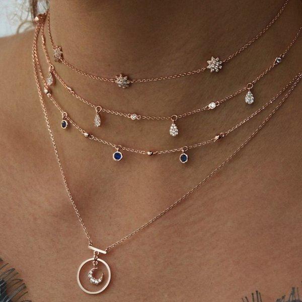 La personalità delle esplosioni ha esagerato gli ornamenti sexy dei colpi della via che profilano la collana della luna delle stelle della catena a più strati a V delle stelle