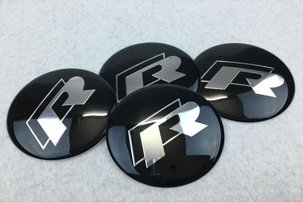 best selling 56.5mm 65mm Volkswagen R logo Car Wheel Hub Center Caps Emblem Wheel Sticker For VW Volkswagen Golf