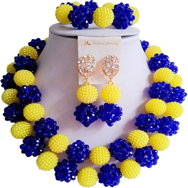 Hot Selling Yellow Royal Blue African Party and Daily Crystal Necklace Earrings Sets 2C-ZZSJ-27