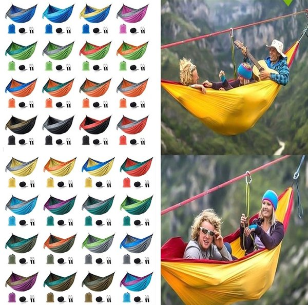 New 44 colors Outdoor Camping Hammock Collapsible Indoor Swing Double Person Parachute Nylon Sturdy Patchwork 270*140cm 4955