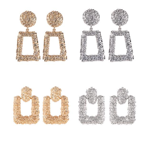 Girlgo 2018 Statement Geometry Metal Dangle Earrings For Women Fashion Bohemian Square Gold Drop Earrings Jewelry Accessories