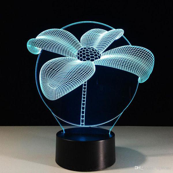 7 Renk Değişimi Illusion 3D Görsel Lotus Flower NightLight Masa Danışma Lambası Çocuk Odası Noel Yılbaşı Partisi Aydınlatma Dekor