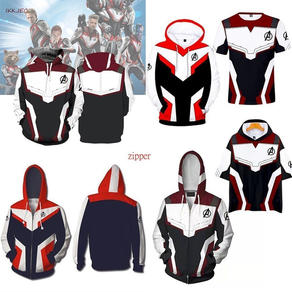 Marvel The 4 Endgame Quantum Realm Cosplay Costume Hoodies Men Hooded Avengers Zipper End Game Sweatshirt Jacket C19040101