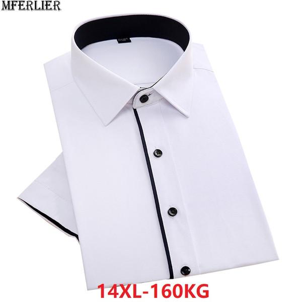 chemises blanches d'été hommes grande taille plus grande 8XL formel manches courtes lâche bureau chemise homme robe chemise 10XL 12XL 140KG 150KG 54
