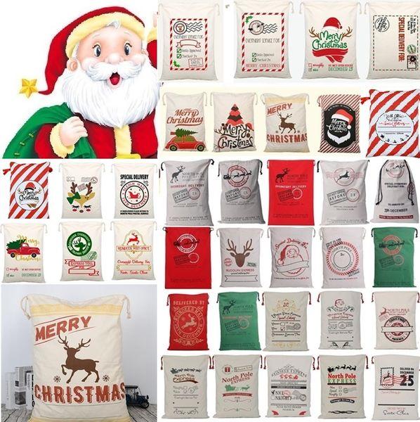 top popular New 36 styles Christmas Canvas drawstring bag Drawstring Bag Reindeers Santa Sack Bags Drawstring Canvas Present Bag Xmas bags Decorations 2019