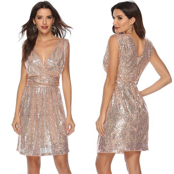 sequin v-sleeve sleeveless medium length dress sequin small dress skirt