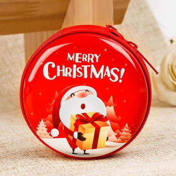 Christmas Round Coin Purse Tree Santa Claus Print Decoration Children Gifts Window Pendant Cute Lovely Small Mini Wallet Purses