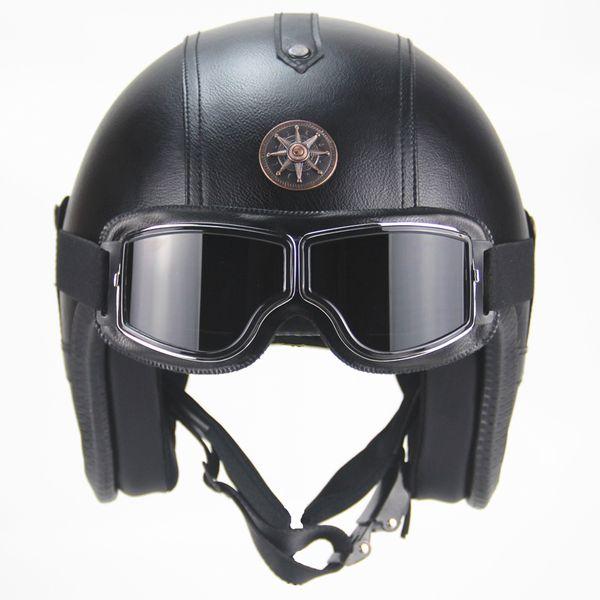 Envío gratis 3/4 Cascos de cara abierta de la motocicleta de la vendimia Retro Cruiser Chopper Scooter casco con gafas