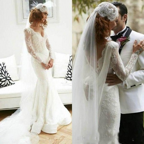 New Couture Indian Country Wedding Dresses 2019 Mermaid Sexy Deep V Neck Long Sleeves Sheer Fit And Flare FulL Lace Bridal Gowns