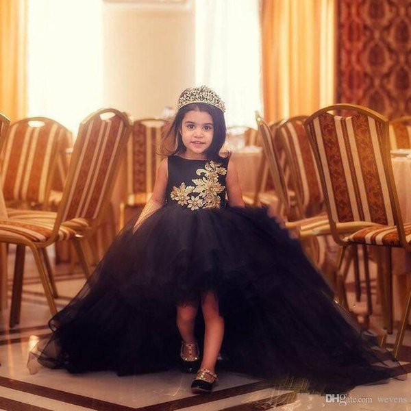 Newest Black High Low Baby Girls Birthday Party Dresses Jewel Neck Gold Lace Appliques Tulle Children Pageant Gowns