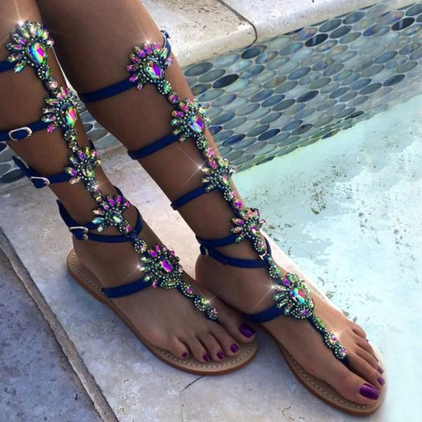 Yifsion Womens Flat With Gladiator Sandal Flip Flops Sandals Sexy Rhinestone 4 Color Nice Beach Shoes Womens US Plus Size 5-10.5