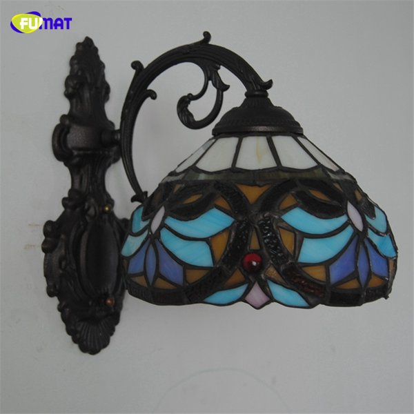 FUMAT 8 Inch Baroque Wall Lamp Sconces European Style Lotus Shade Stained Glass Wall Lights Home Deco Living Room LED Light