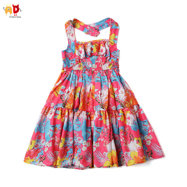 good quality Beautiful Floral Girls Beach Dresses Big Lap Quality Travel Vacation Outwear Children's Clothing Clothes