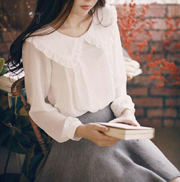 Весна Пан Блуза женщин с длинным рукавом Кружева Сладкие Питер 2019 Воротник белый шифон рубашка Блузы вскользь Сладкие пружине Tops