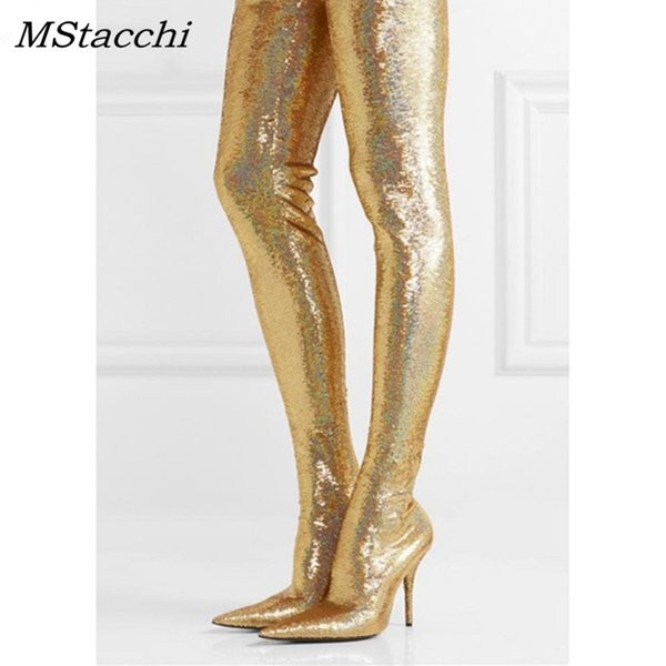 Gold Pointy Toe Sparkly Stiletto Thigh high Long Boots
