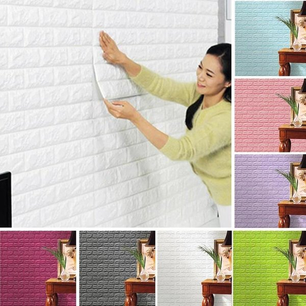 best selling Creative 3D Wallpaper PE Foam DIY Wall Stickers Home Decoration Wall Decor Embossed Brick Stone Living Room Bedroom Background
