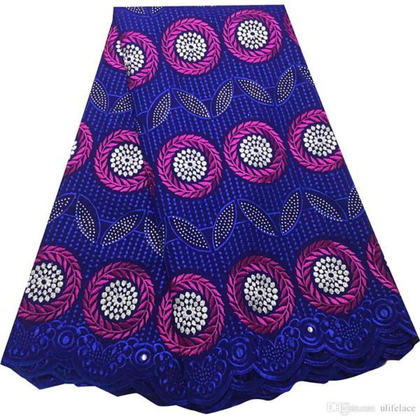 Африканский ткань шнурка Последние Нигерийский швейцарский шнурок Ткань высокого качества Королевский синий хлопок швейцарский Voile Шнурки Швейцария Для женщин SW-566