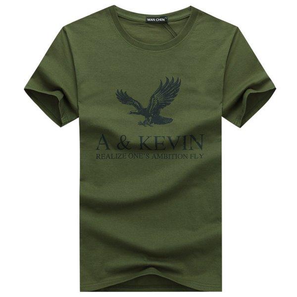 Yeni Saf pamuk Kısa marka T Gömlek erkek büyük boy T Gömlek Slim Fit Moda Kartal Baskılı t-shirt erkekler artı Boyutu S