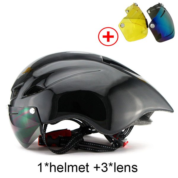 Cycling Helmet MTB Road Bike Sports Bicycle Black Helmet With Goggles Sun Visor