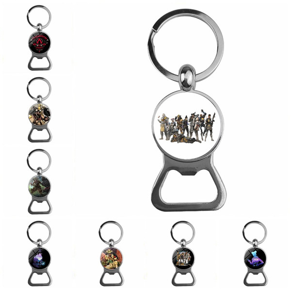 10pcs/Lot Apex Legends Keychain Figures Game Logo Keyrings Fans Souvenir Friends Gift Handmade Glass Cabochon Wine Opener
