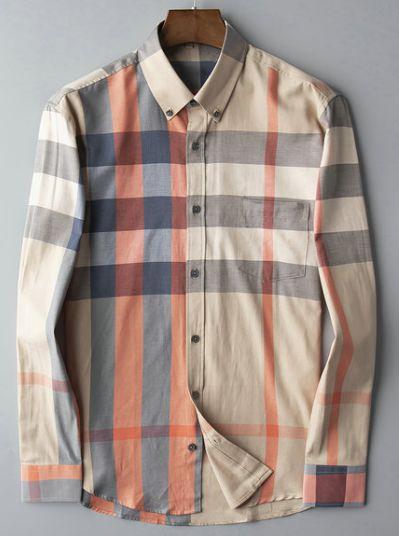 Camisa Bur Berrys para hombre, diseñador, blusa de manga larga de verano de alta calidad, patrón a cuadros, camisas de negocios ligeras, mareas, camisetas sueltas de gran tamaño
