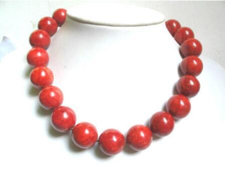 Collana Spedizione gratuita ++ + Collana rosso spongy corallo 18mm perle tonde grandi 18