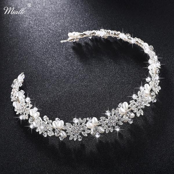 Miallo Luxury Clear Crystal Bridal Hair Vine Pearls Wedding Hair Jewelry Accessories Headpiece Women Crowns Pageant Hs-j4506 Y19051302