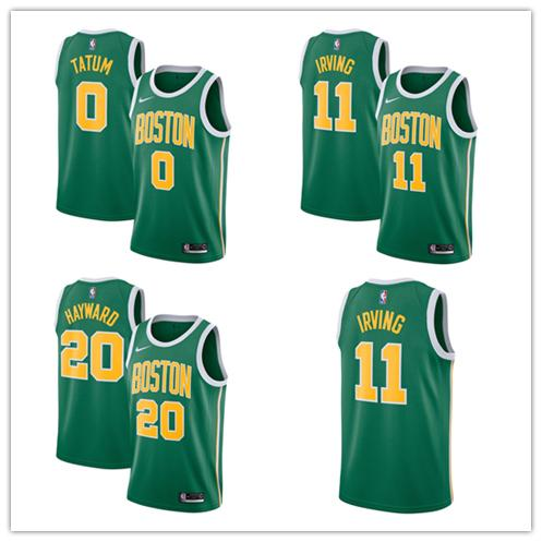 online retailer a172d c76df 2019 11 Kyrie Irving 20 Gordon Hayward 0 Jayson Tatum Boston Men'S Celtics  2018/19 Swingman Jersey Green Earned Edition From Pose01, $22.34 | ...