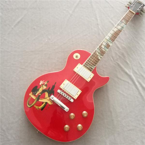 Livraison gratuite Standard LP modèle guitare électrique plaque de doigt de serpent grain serpent sculpture or accessoires grain de tigre rouge