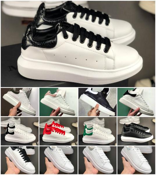 Qualidade superior 2019 designer de sapatos de couro genuíno sapatilhas de luxo dos homens das mulheres de moda sapatos de plataforma de couro branco planas formadores calçados casuais
