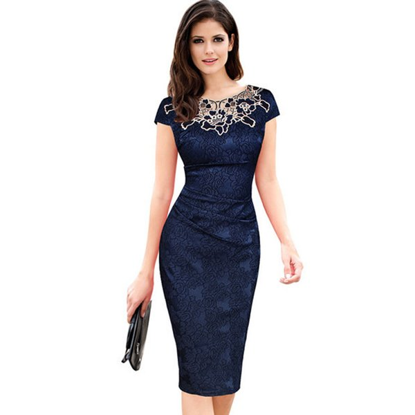 Fantaist Women Summer Floral Embroidery O Neck Ruched Lace Dress Elegant Wedding Party Casual Office Vintage Midi Pencil Dresses Y19053001