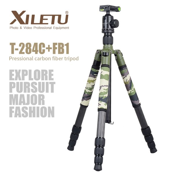Xiletu T284C+FB1 Green Camouflage Carbon Fiber Tripod For Outdoor Travel Shooting DSLR Digital Camera with Panoramic Ball Head