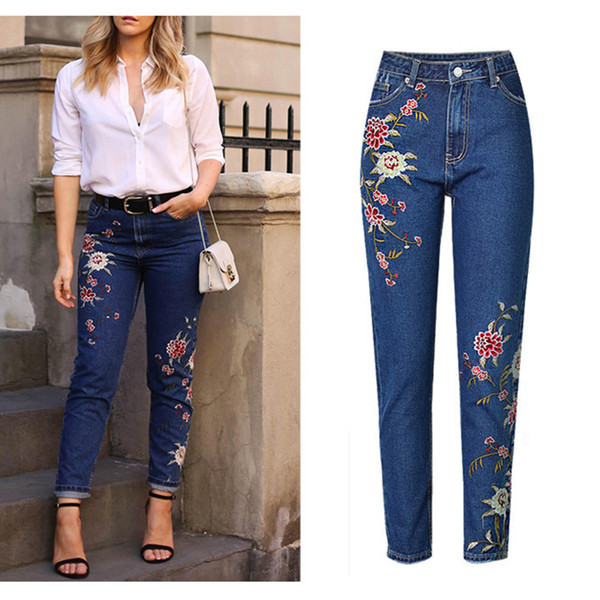 Hot Fashion Jeans Women's Clothing Straight Denim Jeans Pants 3D Floral Embroidery Pants High Waist Ladies Loose Jeans Trousers S19713