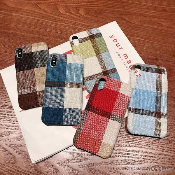 Amazing Simple Plush Cloth Grid Case For iphone X XS Max XR 7 8 6 6S Plus Vintage Burlap Soft Cover for iphone8 Autumn Winter Phone Case
