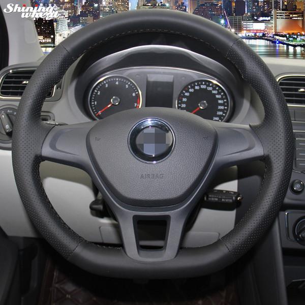 trigo brilhando cosido à mão preto tampa da roda de couro Steering Artificial para 7 7 Novo Polo 2014 2015
