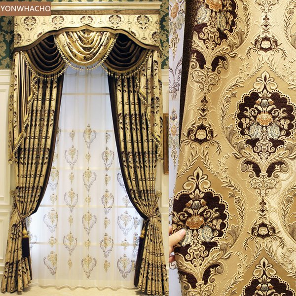 2019 Custom Curtains Luxury European Villa Living Room Thick Chenille  Jacquard Gold Cloth Blackout Curtain Valance Tulle Panel B536 From  Aozhouqie, ...
