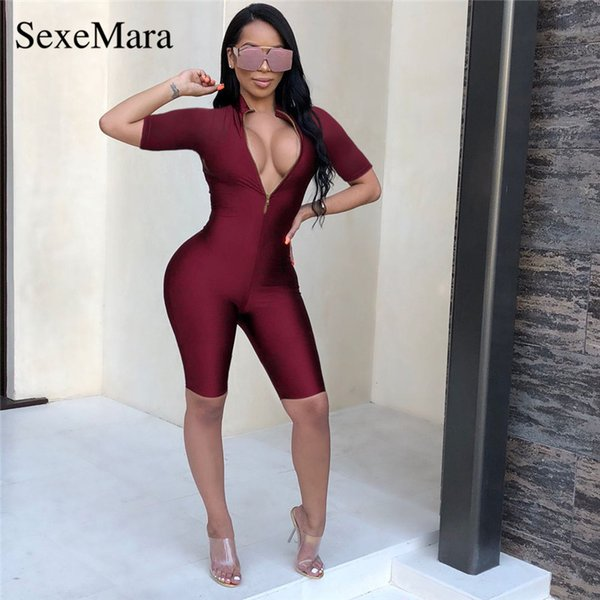 ANJAMANOR Sexy Deep V Neck Zipper Front Sexy Jumpsuit Women Burgundy Bodycon Shorts Romper Playsuit Club Party Outfits D35-AZ40