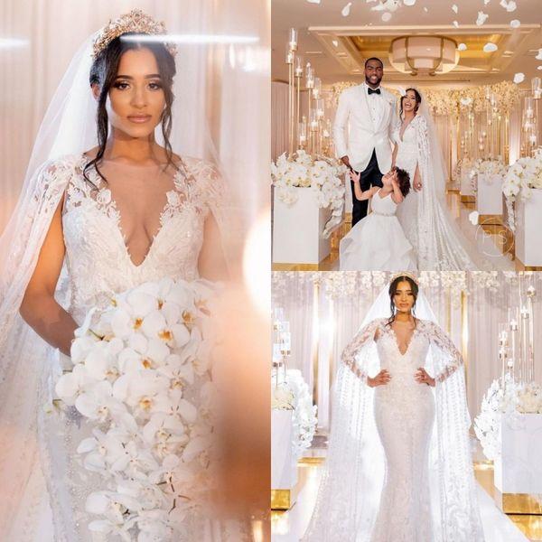 2020 Lace Mermaid Wedding Dresses with Wrap Sheer V Neck Applique Mermaid Wedding Gowns vestido de novia Custom Made Bridal Dress with Veil