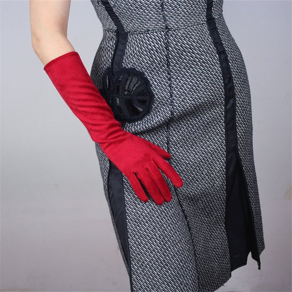 40cm suede gloves medium and long section christmas chinese red matte dark red emulation leather suede female gloves wjp04