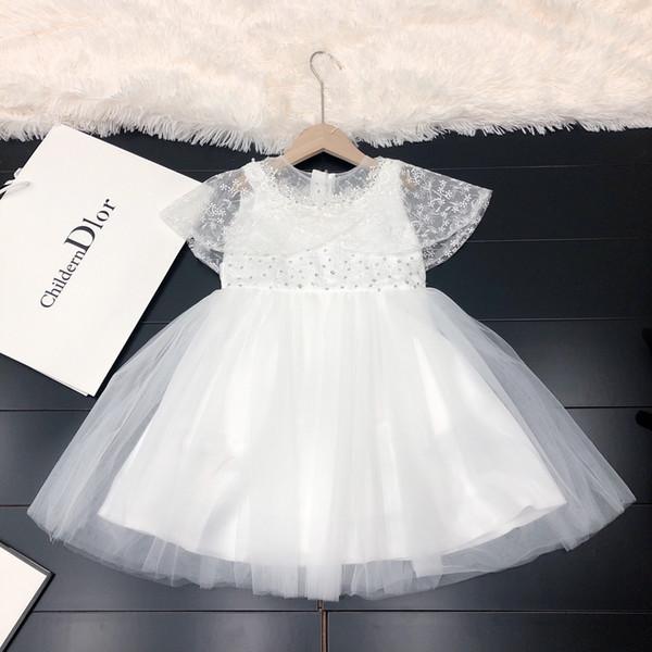 Vestido de niñas ropa de diseñador para niños costura de otoño vestido de satén falda lentejuelas decoración de diamantes simple vestido blanco puro