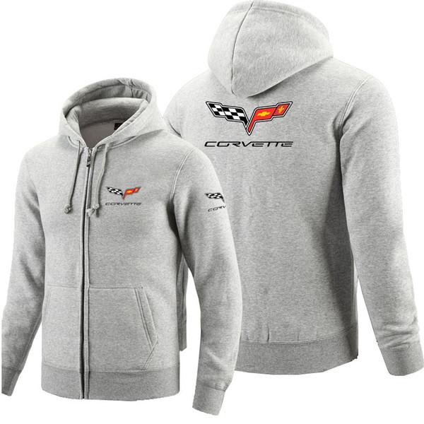 Chevrolet corvette logo cremallera con capucha algodón polar chaqueta con cremallera sudaderas para hombres y mujeres