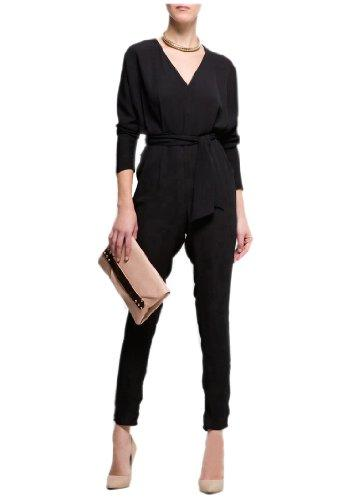 Womens High Waist Long Sleeve Black Chiffon Jumpsuit Europe Siamese pants graceful lady deep V-neckline catsuit