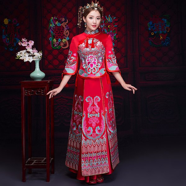 Red Formal Tassel Classic Cheongsam Suit Traditional Slim Full Length Qipao Classic Women Wedding Dress Vintage Toast Clothing