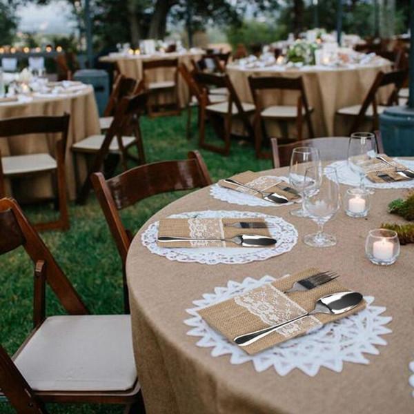 1pcs Jute Hessian Burlap Linen Lace Cutlery Holder Vintage Birthday Wedding Party Decorations Tableware Supplies 62054