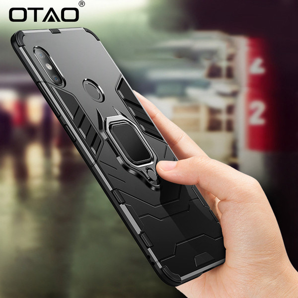 Shockproof Armor Phone Case For Xiaomi 8 Lite F1 Max Mix 3 2s Cases For Redmi Note 4 5 6 Pro Finger Ring Holder Back Cover