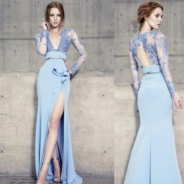 top popular 2020 Long Sleeves Blue Evening Dresses Backless Deep V Neckline Lace Applique Mermaid High Split Formal Prom Gowns Party Dress 2020