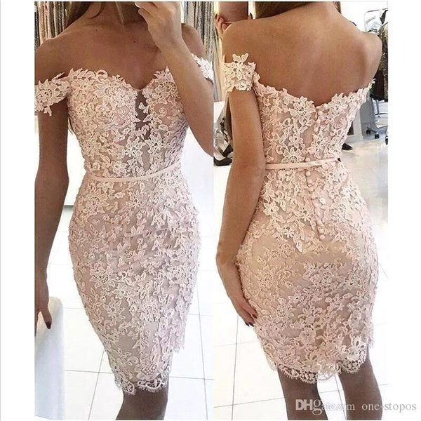 Elegant Off The Shoulder Lace Sheath Short Cocktail Dresses Beaded Applique Knee Length Short Party Prom Dresses With Buttons Ba6358 Clearance