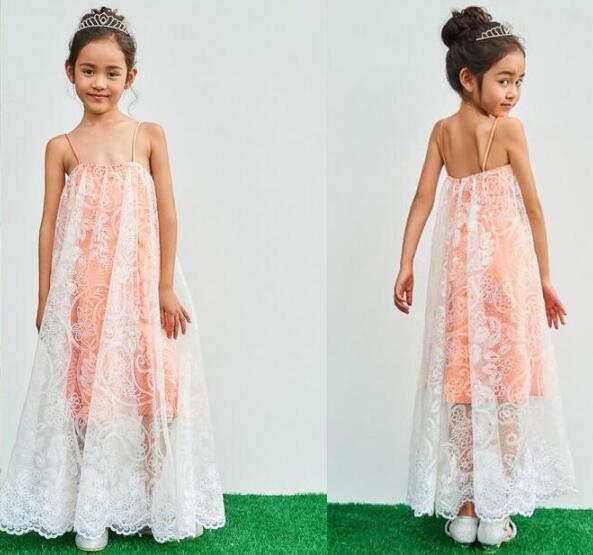 best selling Glitz Girls Pageant Dresses for Teens full lace Bohemia Floor Length Beach Flower Girl Dresses for beach Weddings cheap boho Custom Made