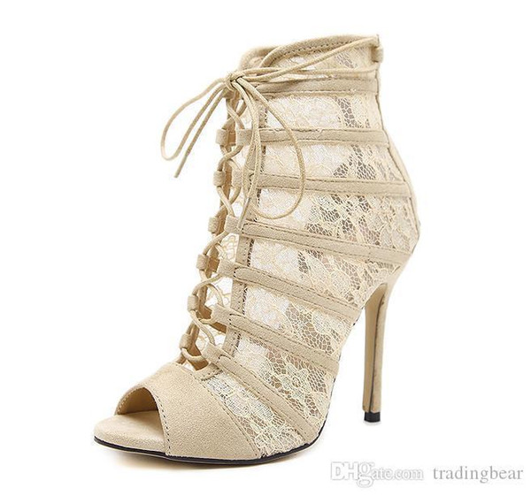 Sexy2019 Beige Embroider Meshy Lace Up Peep Toe High Heels Bootie Spring Summer Women Shoes Size To